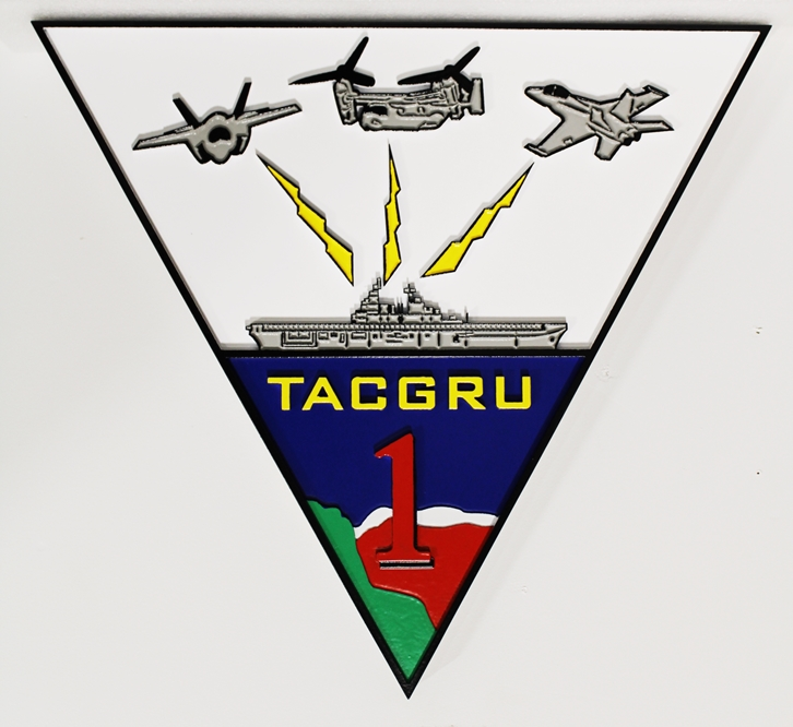 JP-1565- Carved Emblem for Navy TACGRU ONE Operations, 2.5-D  Artist Painted