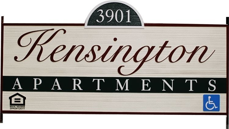 K20168 - Carved and Sandblasted Wood Grain HDU  High-Density-Urethane (HDU)  entrance and address sign for the Kensington Apartments