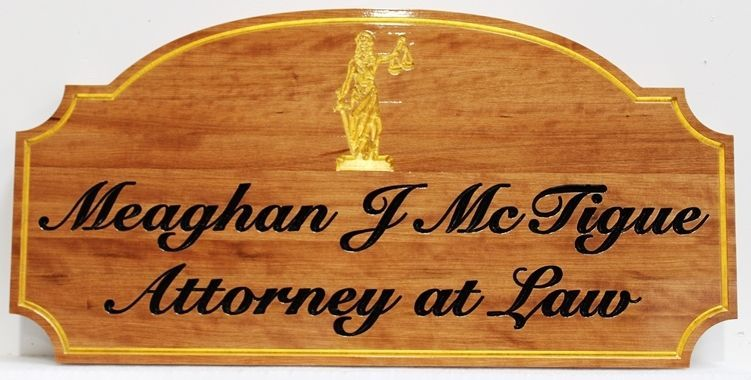 A10512  - Carved EngravedMahogany  Sign for Meaghan J. McTigue,Attorney at Law, with Lady Justice and 24K Gold-Leaf Gilding
