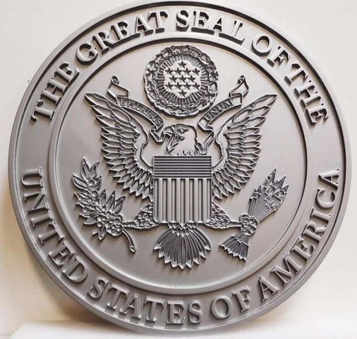 AP-1105- Carved Plaque of the Great Seal of the United States, Metallic Silver Painted