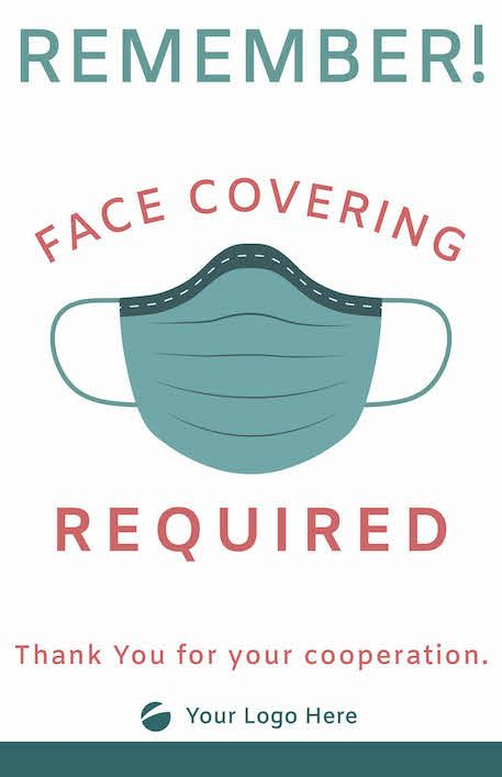 Face Covering Signage -Teal/Coral