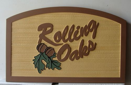 "K20147 - Subdivision Entrance Sign ""Rolling Oaks"", Sandblasted 2.5D Sign"
