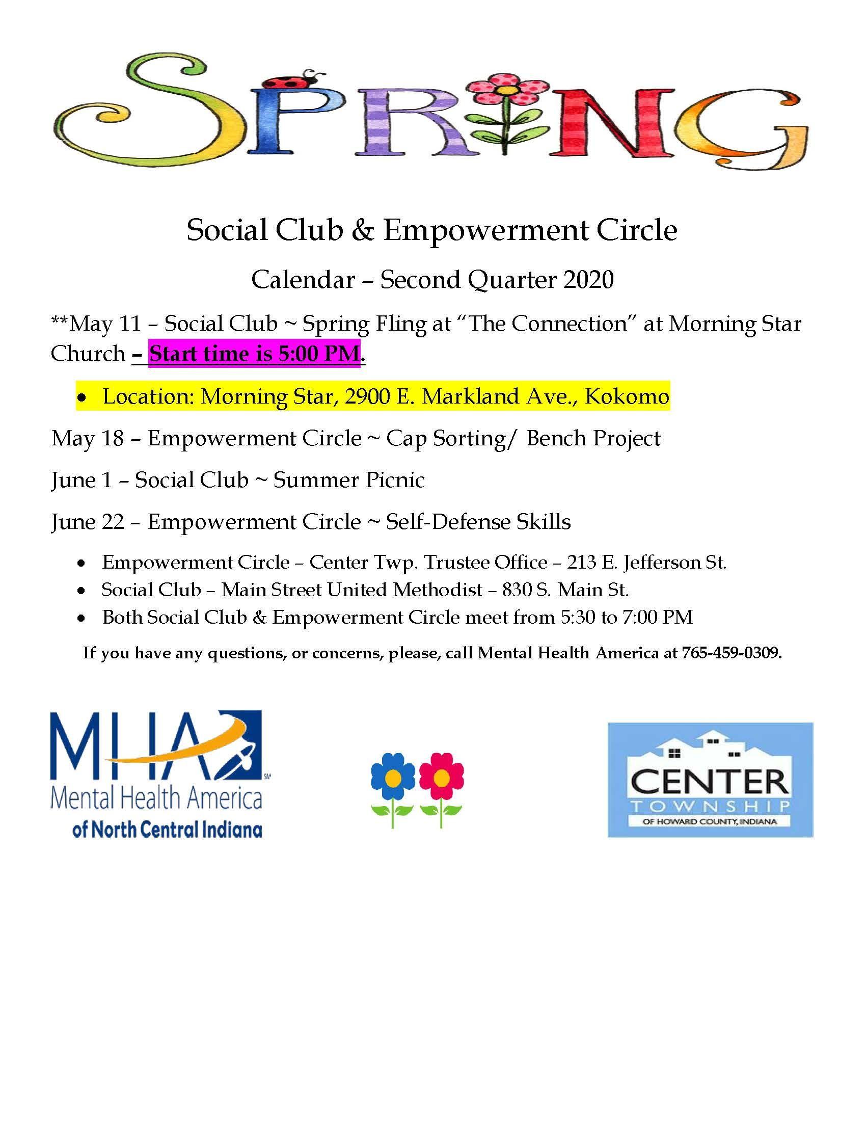 Social Club / Empowerment Circle - 2nd Qtr Calendar 2020 - UPDATED