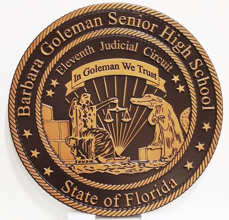 TP-1130 - Carved Plaque of the Seal for Barbara Goleman Senior High School, State of Florida, 2.5-D Artist-Painted