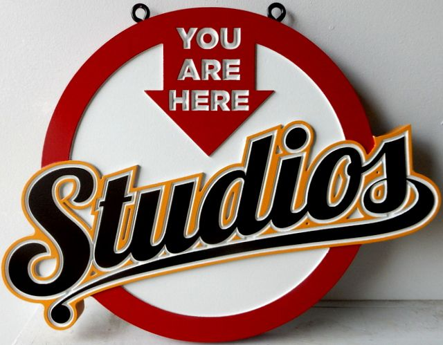 """SA28012 - Colorful Carved High-Density-Urethane Sign for  the """"Studios"""","""