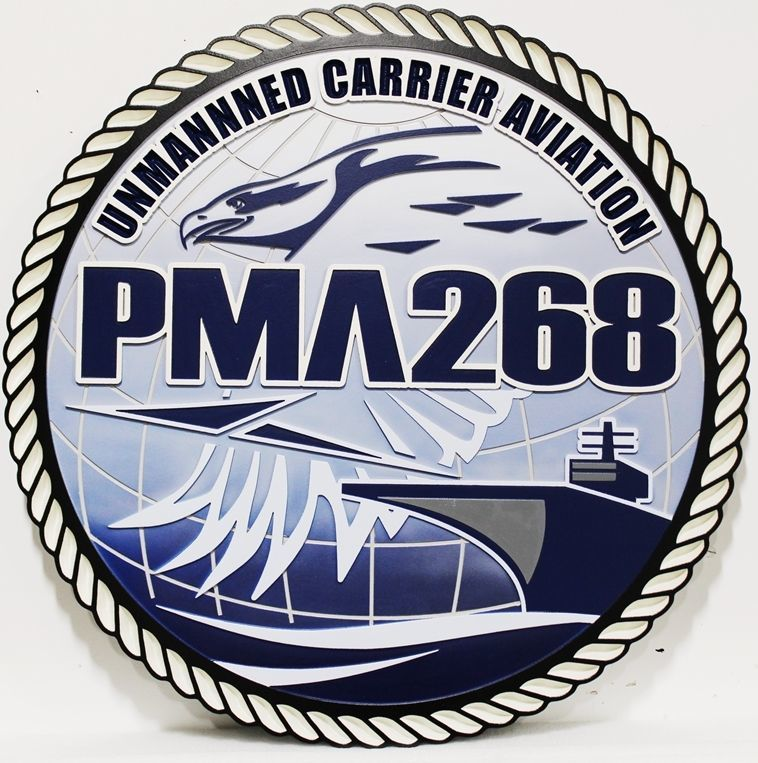 JP-1674 - Carved 2.5-D HDU Plaque of theCrest of the Navy's Unmanned Carrier Aviation , PMA-268