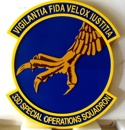 V31550 - 2.5-D Carved HDU Wall Plaque of the Crest of the USAF 33rd Special Operations Squadron