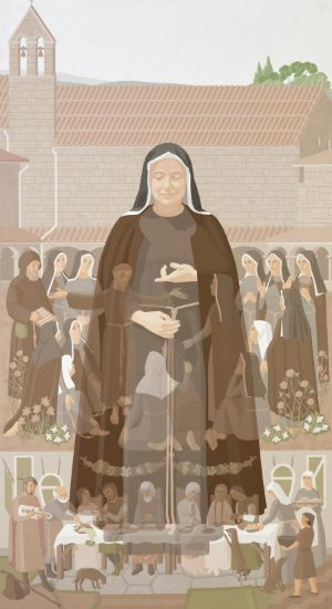 St. Clare - Painting by David Smith, 1987; Immaculate Heart of Mary Central Convent, Buffalo, New York. Printed with permission.  All rights reserved.