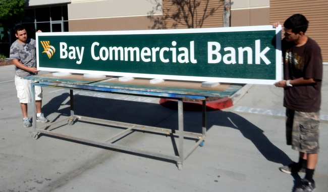 C12210 - Large Carved Bay Commercial Bank Sign