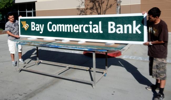 C12210 - Large Carved Bay Commercial Bank Sign