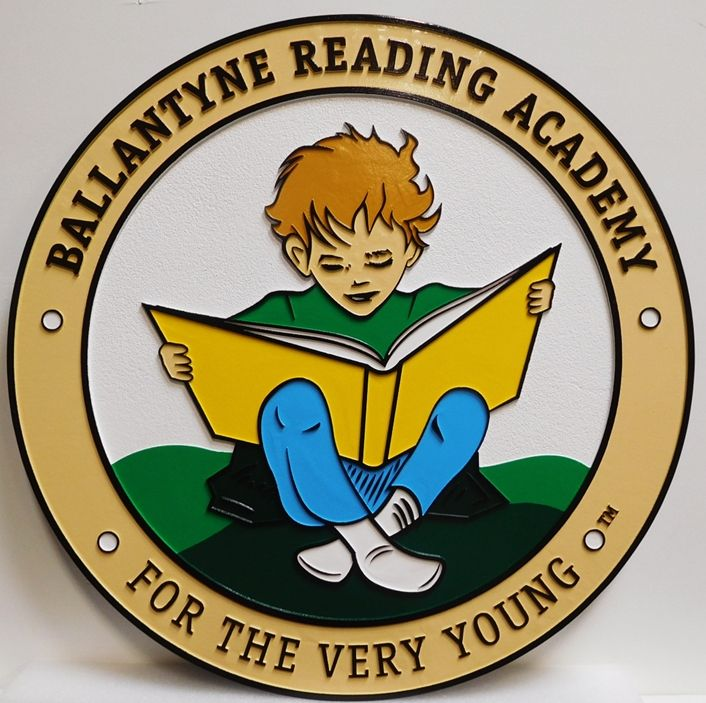 TP-1450 - Carved Plaque of the Ballantyne Reading Academy, 2.5-D Outline Relief, Artist-Painted