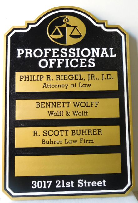 A10606 -  Law Office Directory Sign with Four Changeable Nameplates