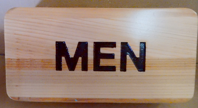 RB27193 - Engraved Cedar Wood Men's Restroom Sign