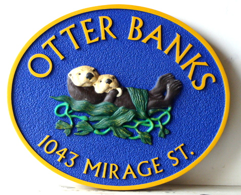 "L21670 - Seashore Home Carved Wood Property Sign ""Otter Banks"", with Otters Feeding in Kelp Bed"