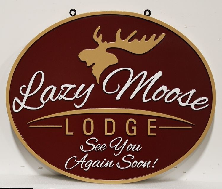 T29131 -  Carved 2.5-D Raised Relief and Sandblasted Wood Grain HDU Sign for the Lazy Moose Lodge