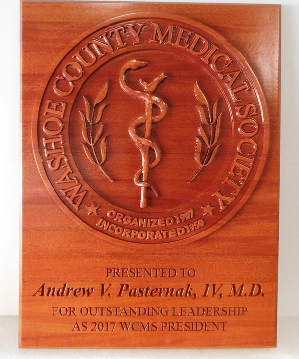 B11083 - Carved, Cedar Wood Plaque for County Medical Society for Outstanding Leadership from M.D..