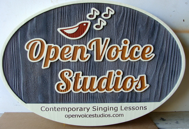 SA28015 - Painted Wooden Sign for Voice Studio for Singing Lessons with Bird and Music Note Logo