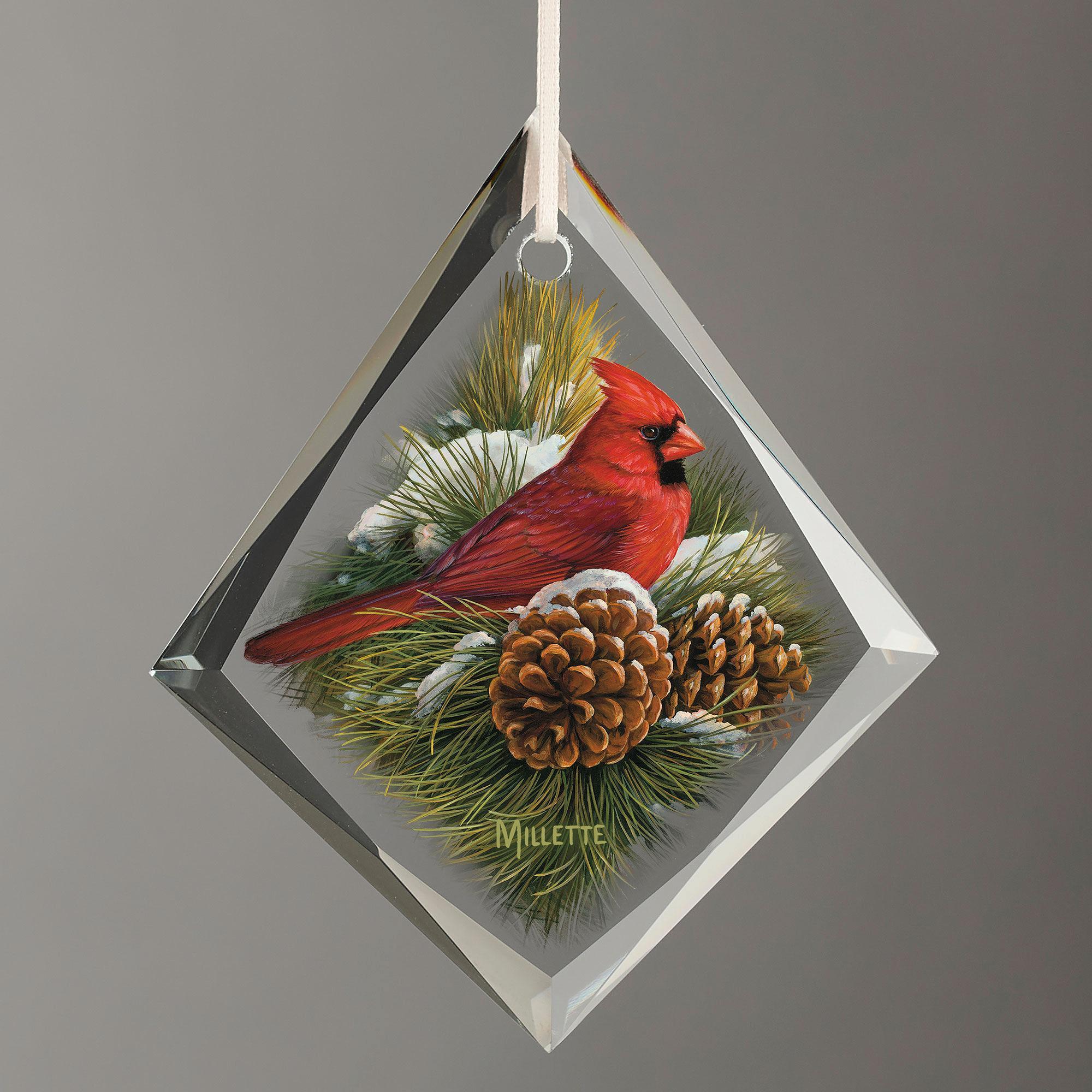 December Dawn-Cardinal Tear Drop Glass Ornament