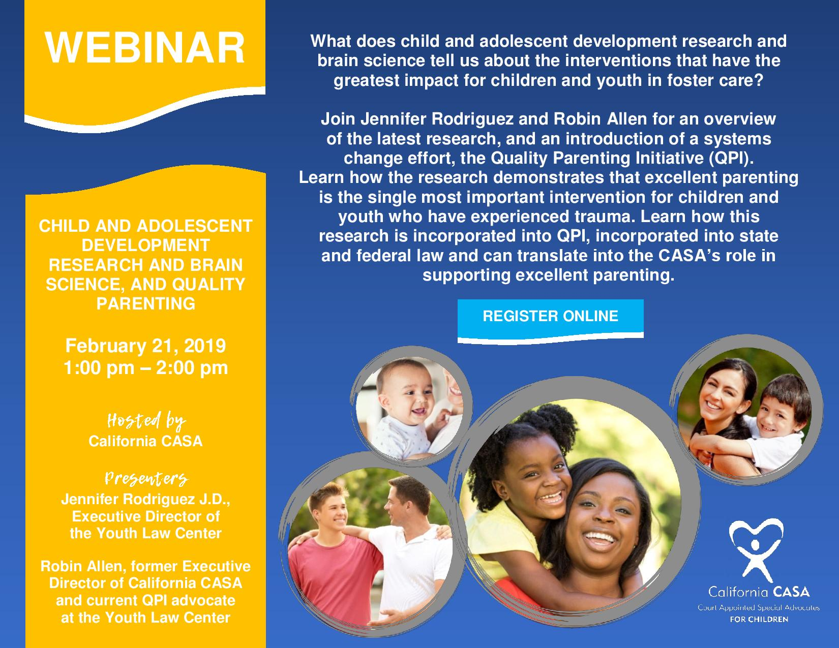 CASA Webinar: Research, Brain Science, and Quality Parenting