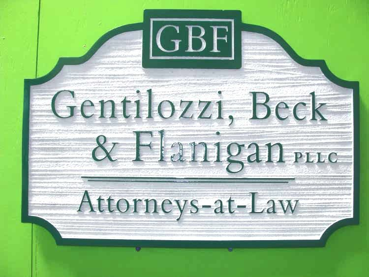A10163 - Sandblasted and Engraved Law Firm Sign, White & Green