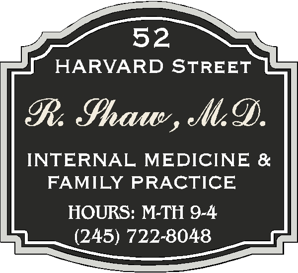 B11019-Carved, painted HDU sign for family/intenal medicine or other medical practice.