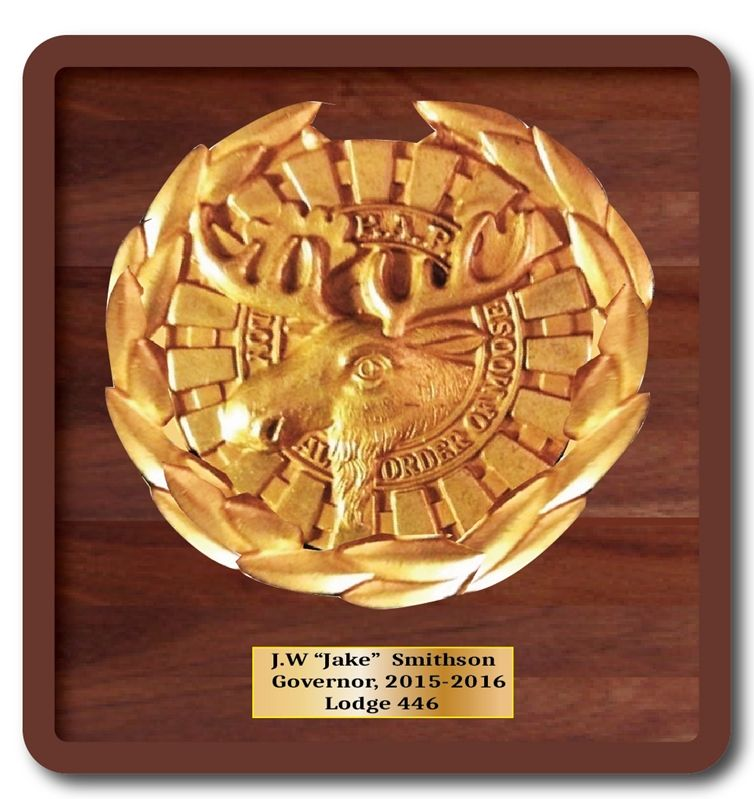 UP-2100- Carved Wall Plaque of the Order of the Moose Emblem, Gold Leaf Gilded on Mahogany Wood