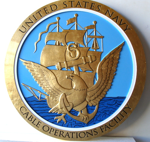 V3121 7 - Navy Great Seal Wall Plaque  in Gold and Blue (Cable Operations Facility)