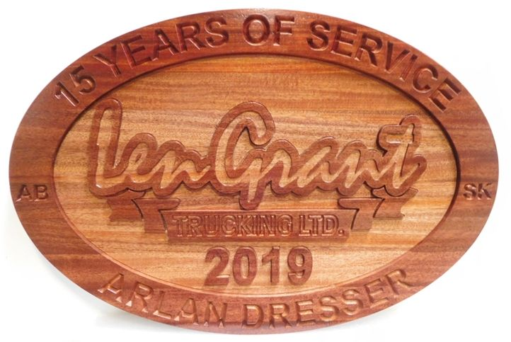 VP-1530 - Carved and Sandblasted  Service Plaque for Employee of Len Grant Trucking, Ltd, 2.5-D Cedar.