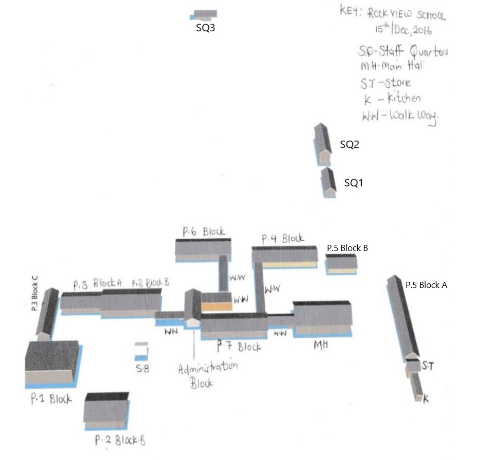 Layout of school with staff quarters