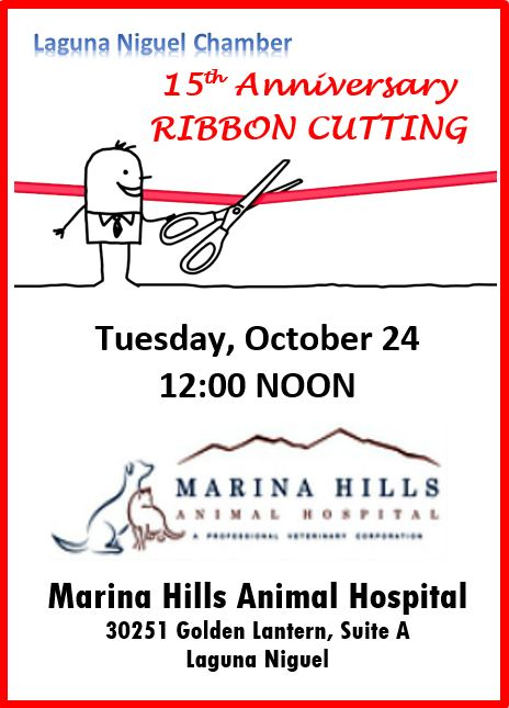 Marina Hills Animal Hospital 15th Anniversary Ribbon Cutting