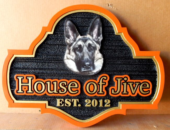 "I18612- Carved  Residence Sign, ""House of Jive""  featuring a Photo of a German Shepherd as a Giclée Appliqué."