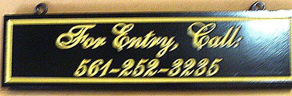 KA20519 - Apartment Building Entry Sign, Engraved Script with Gold-Leaf Gilding