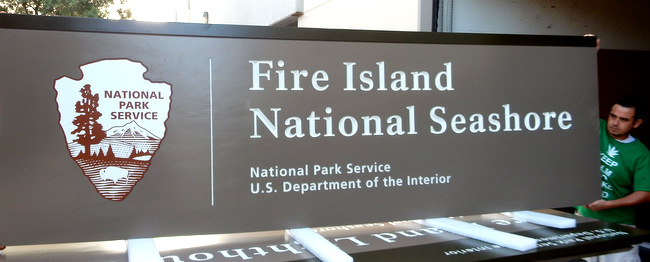 "G16015 - Large Cedar Wood and Steel Sign for the National Park Service Fire Island National Seashore with NPS Emblem, the ""Arrow"""