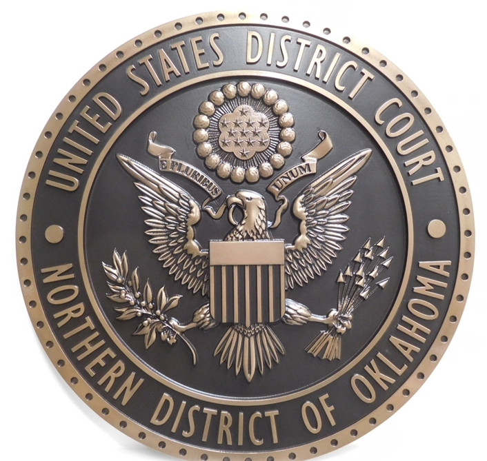MA1055- US Dstrict Court Seal, 3-D with Dark Patina