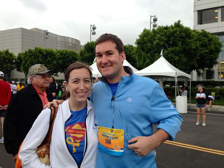 Our friend, Anthony LaVita, is running in the Pediatric Cancer Research Foundation's half-marathon today, in Irvine, CA, in honor of Sammy!! Here is a pic of Anthony, and our cousin, Lauren Cimpl, before the race. Thank you guys and good luck Anthony!!