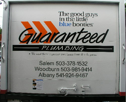 Guaranteed plumbing truck back