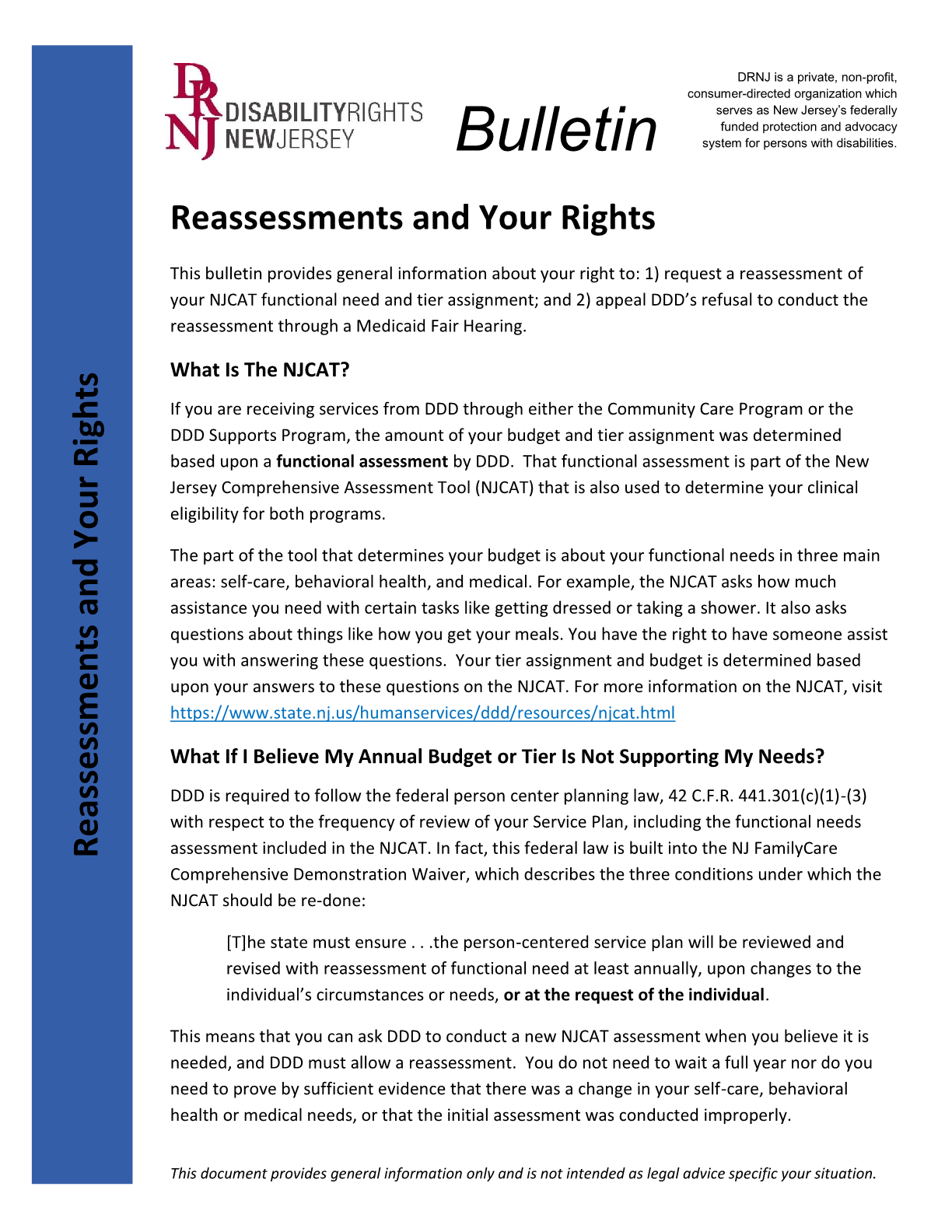 Disability Rights New Jersey's Bulletin On - The NJCAT: Reassessments and Your Rights