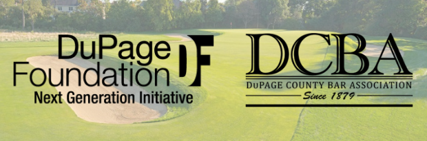 Golf course background with DuPage Foundation NGI logo and DuPage County Bar Association Logo on top