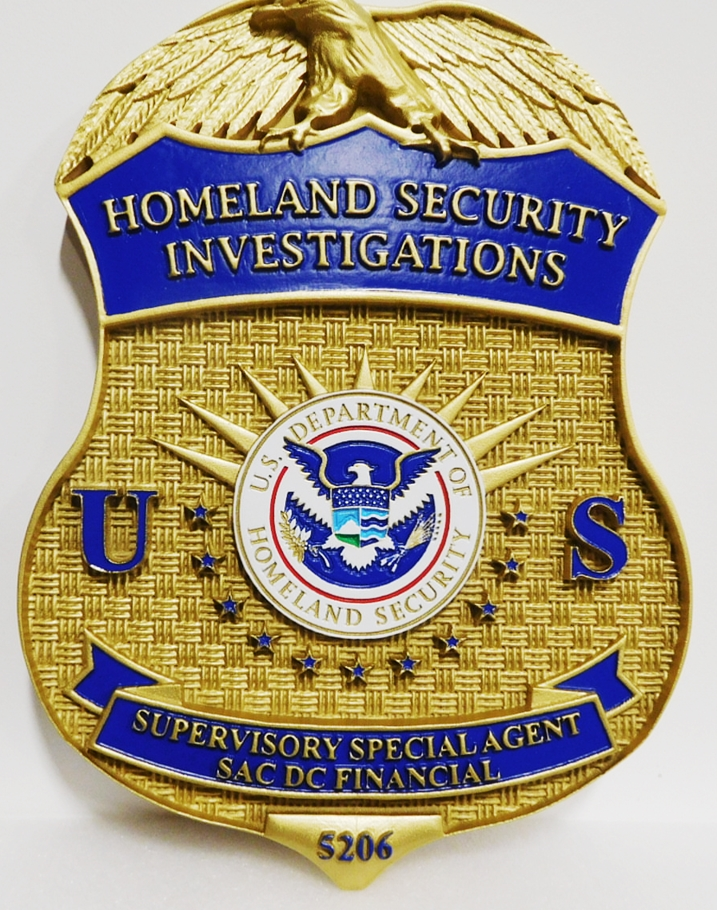 AP-4143 - Carved Plaque of the Badge of a Supervisory Special Agent of Homeland Security,  Artist Painted