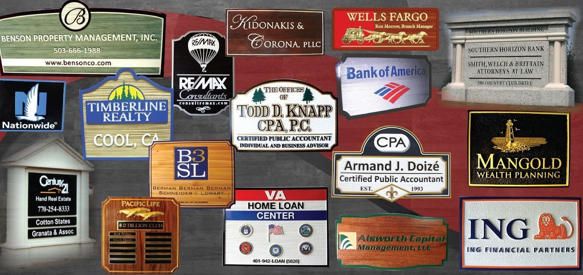 Sandblasted wooden CPA and bank  signs.