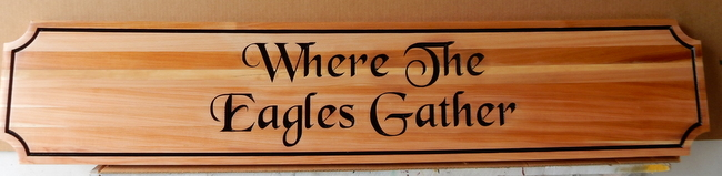 "N23158- Engraved Cedar Wall Plaque ""Where Eagles Gather"""