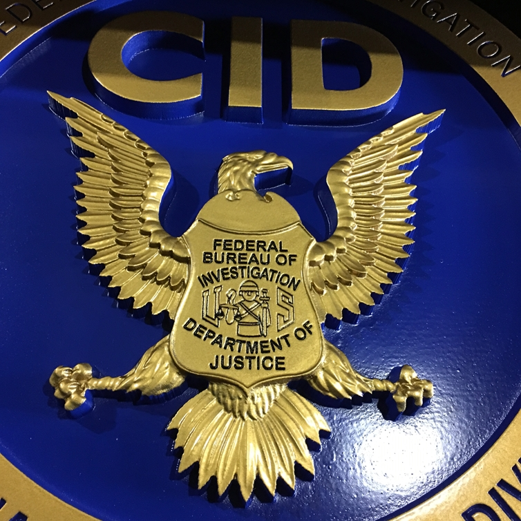 U30364 - 3D Carved Plaque (closeup)  for the Criminal Investigation Division (CID) of the FBI