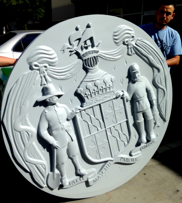 GP-1210 - Carved Plaque of the Seal of the  State of Maryland, Painted Stone Gray