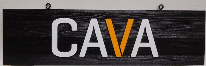 "SA28327 - Carved Cedar Wood Hanging Sign for the ""CAVA"" Business, 2.5-D Artist-Painted."