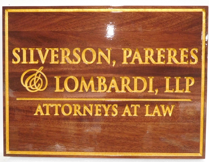 A10005 - Mahogany Sign for the Silverson, Pareres and Lombardi Law Office, with Engraved and 24K Gold-Leaf Gilded Text and Border