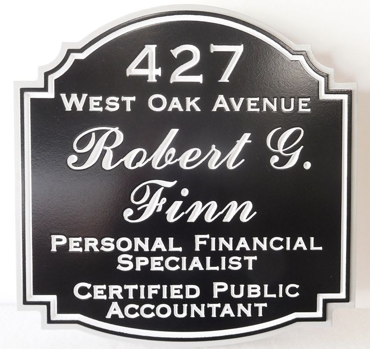 C12087 -  Engraved HDU Sign for Personal Financial Specialist and  CPA , with Address