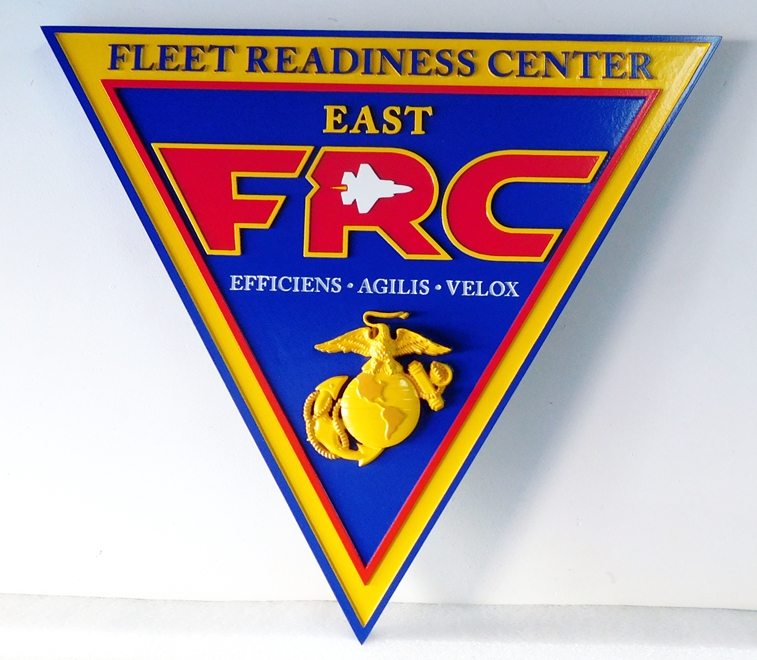 V31419– Carved 3-D Wall Plaque of the  Crest of the USMC Fleet Readiness Center