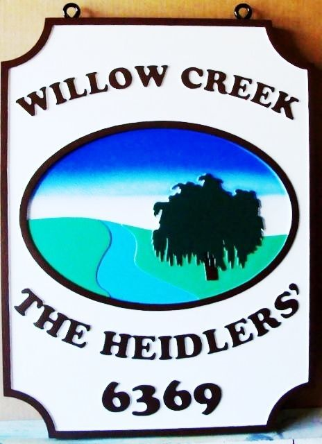 "M22020 - Carved Property Name and Address Sign for  ""Willow Creek"