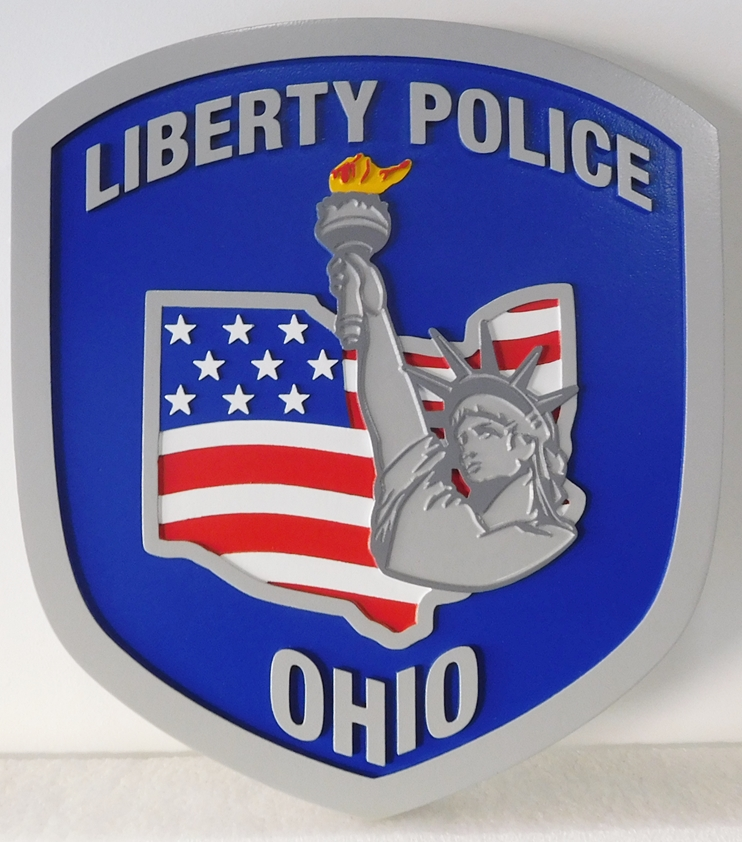 PP-2200 - Carved  Wall Plaque of the Shoulder Patch of the Liberty Police,  Ohio,  Artist Painted