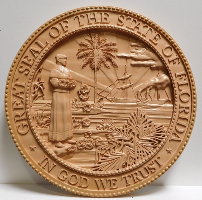 BP-1147- Caved Plaque of the Great Seal of the State of Florida, Maple Wood